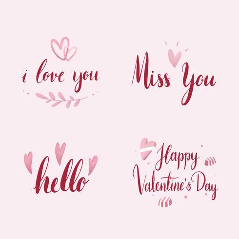 Set av valentines dag typografi vektor