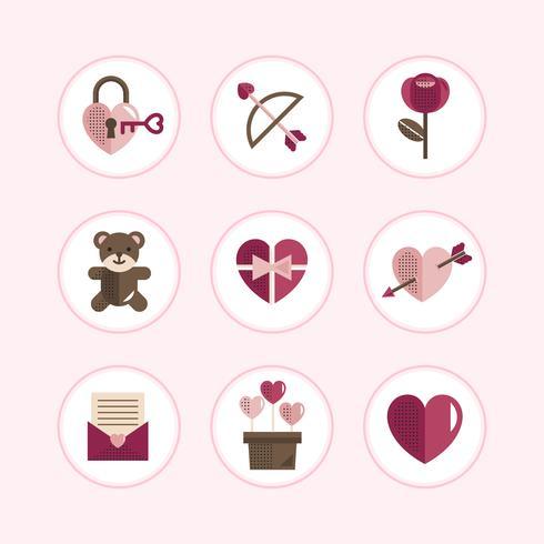 Set di icone di San Valentino pastello