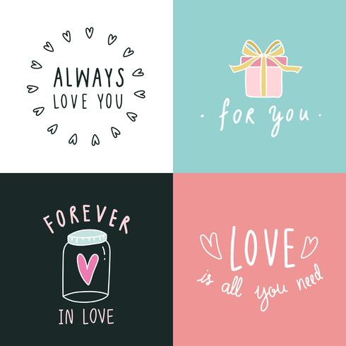 Kärlek uttryck ikonuppsättning vektor