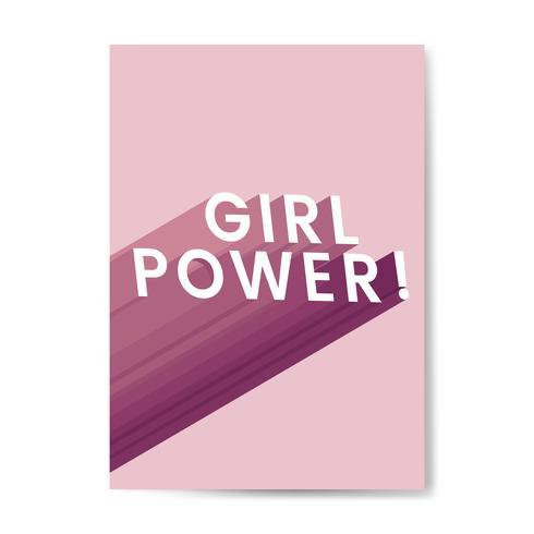 Pink Girl Power Typography Vector