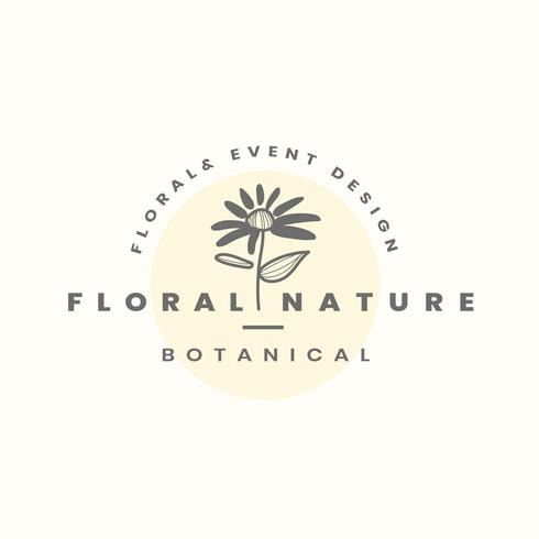 Floral nature logo design vector