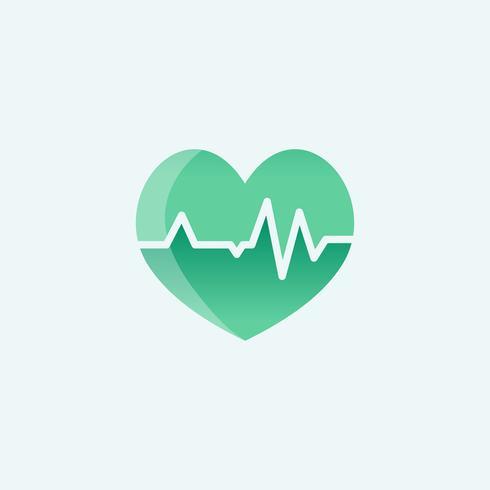 hjärta med kardiograf ikon medicinsk illustration