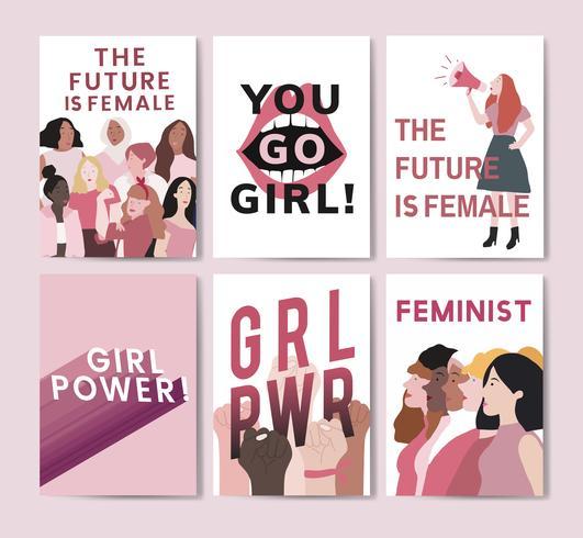 Samling av feministiska meddelanden poster vektorer