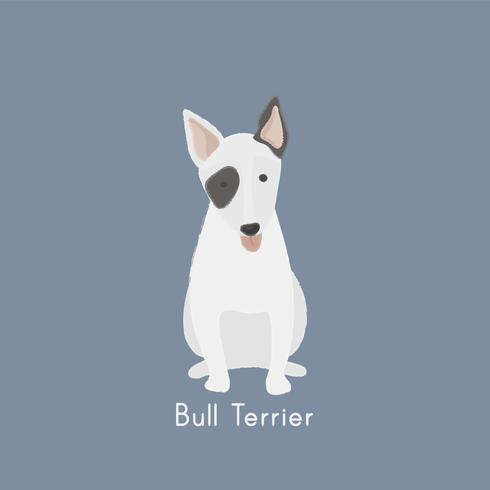 Gullig illustration av en bull terrier hund