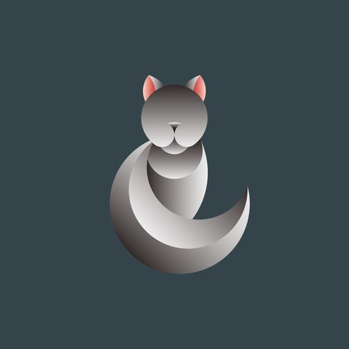 Gray cat geometrical animal design vector