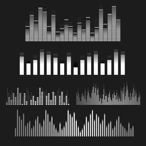 Sound wave equalizer vektor design set