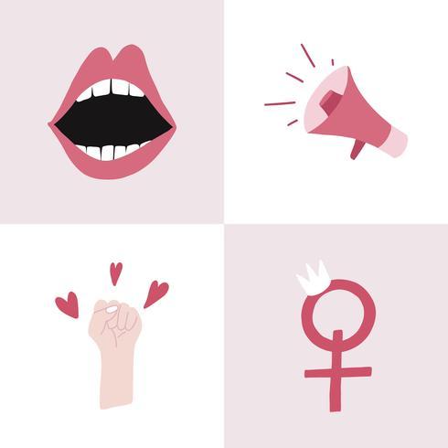 Set van roze feministische badge vectoren