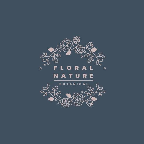 Floral nature badge design vector
