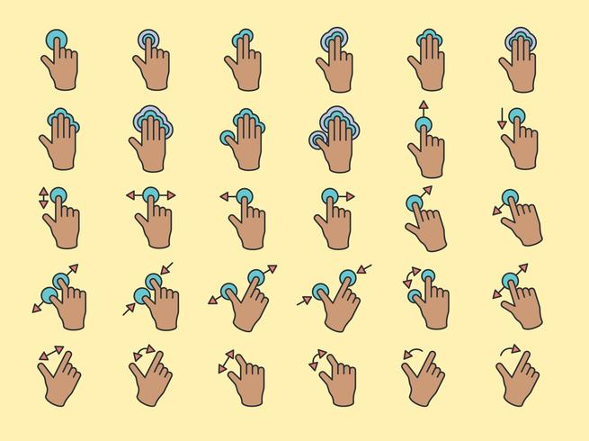 Illustration du geste des mains à écran tactile en fine ligne