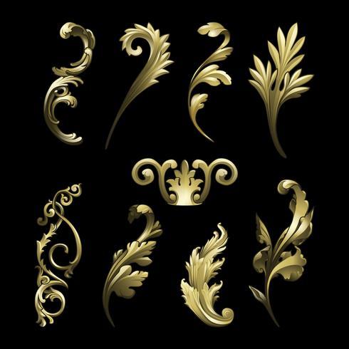 Gyllene barock blomstrar element vektor uppsättning