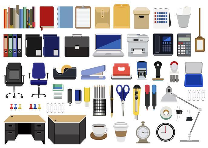 Collection de papeterie, meubles et machines isolées sur fond blanc