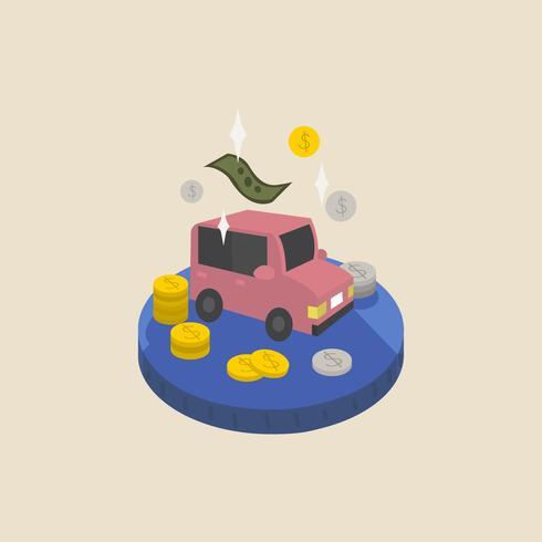 Illustratie van geld en een auto