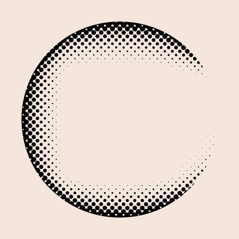 Black vintage halftone badge on beige background vector