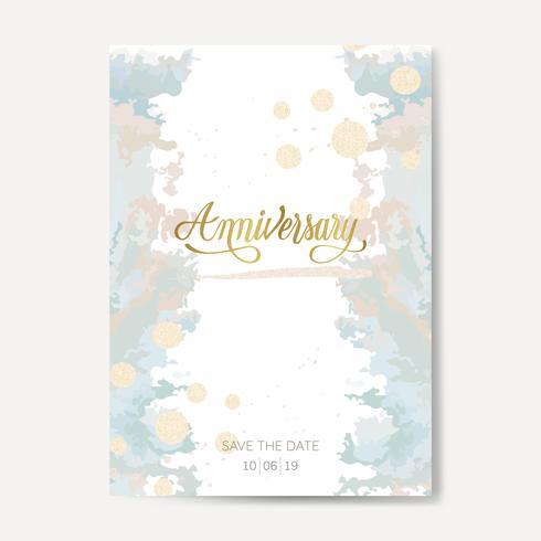 Pastell Hochzeitstag Karte Vektor