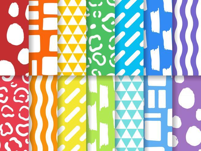 Colección de vector de patrones de diseño inconsútil colorido