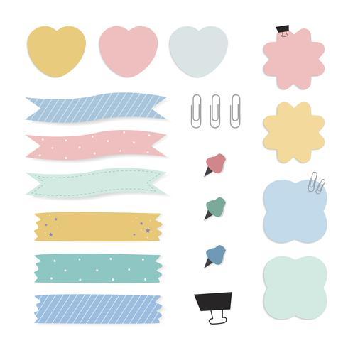 Färgrik påminnelse papper noterar vektor uppsättning