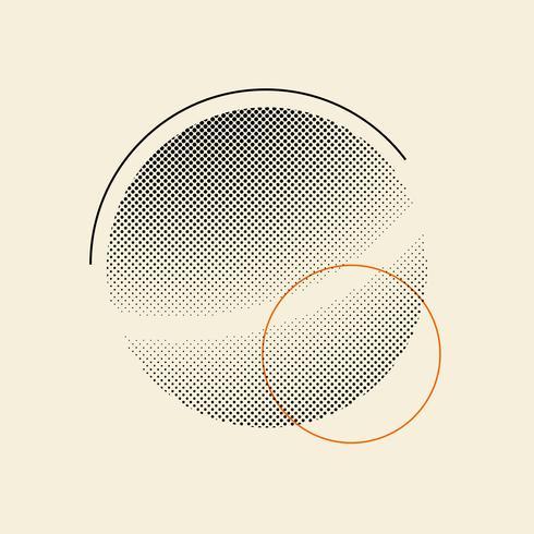 Svart vintage halvton emblem på beige bakgrund vektor