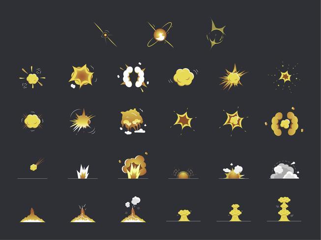 Conjunto de iconos de explosión y explosión