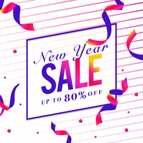 New year sale 80% off sign vector