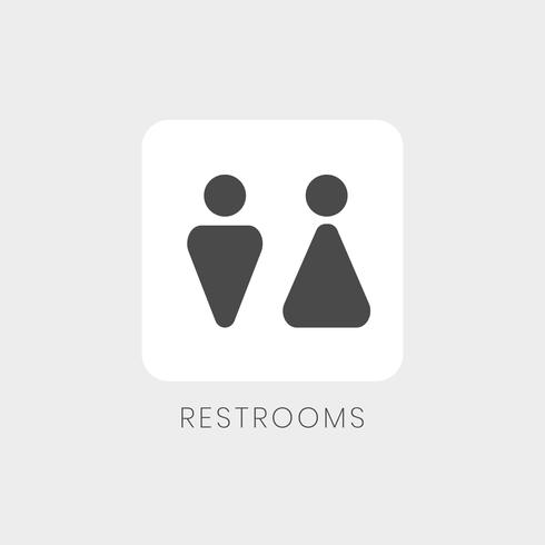 Black and white restrooms sign vector