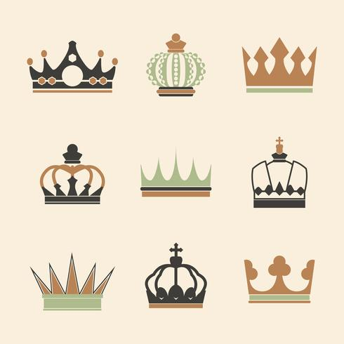 Collection of royal crown vectors