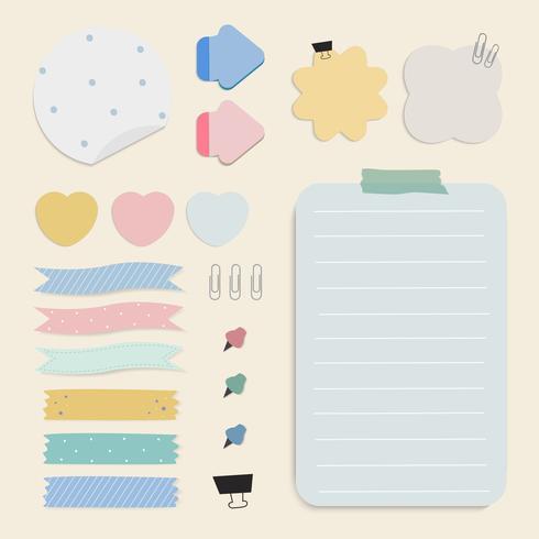 Colorful reminder paper notes vector set