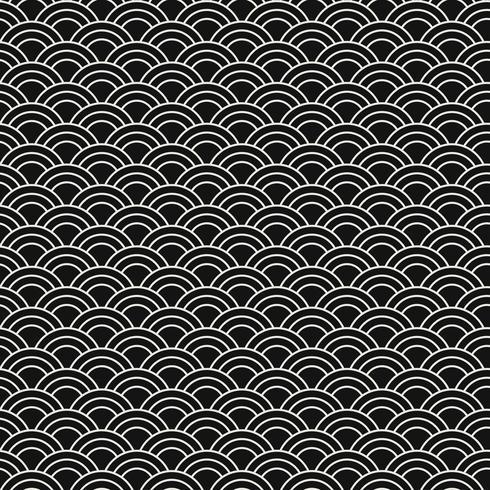 Nahtloses japanisches Muster mit Vektor des Wellenmotivs (Seigaiha)