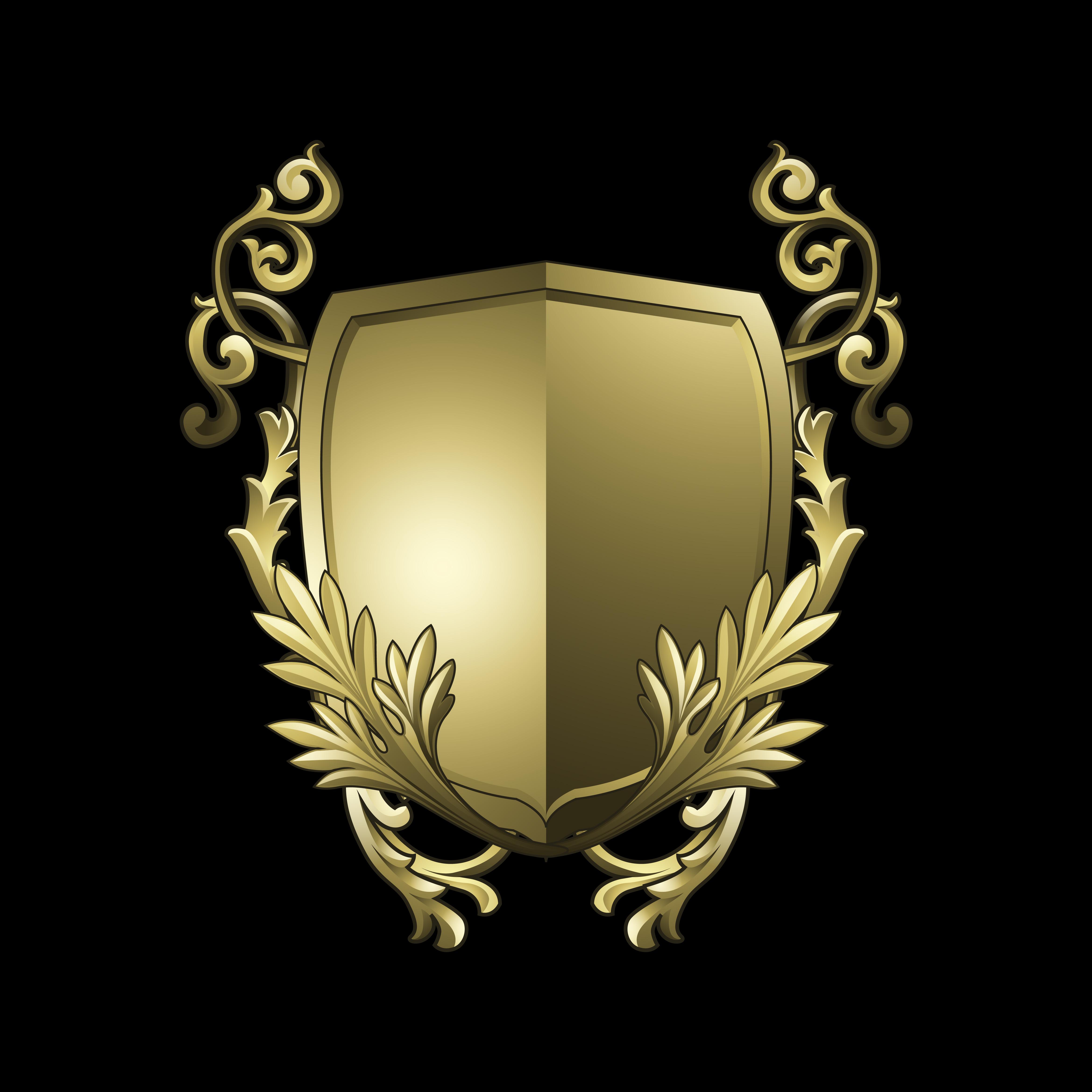 Black Baroque Shield Elements Vector: Golden Baroque Shield Elements Vector