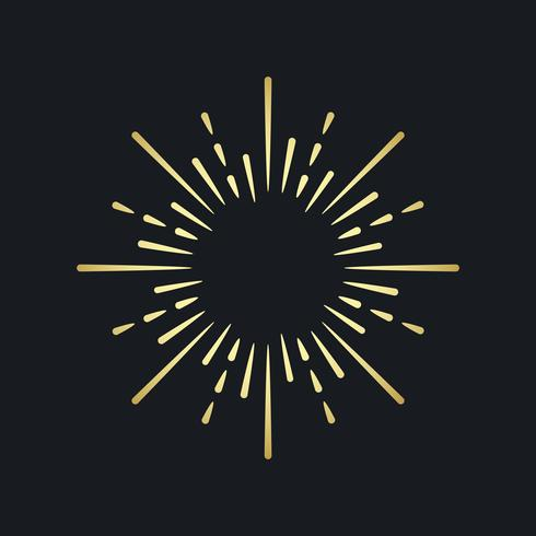 Goldener Feuerwerksexplosionselementvektor