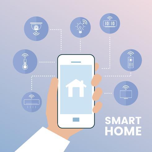 Intelligentes Haus gesteuert durch infographic Vektor des Telefons