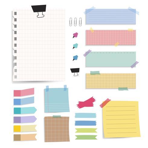 Notes de papier vierge colorée vector ensemble