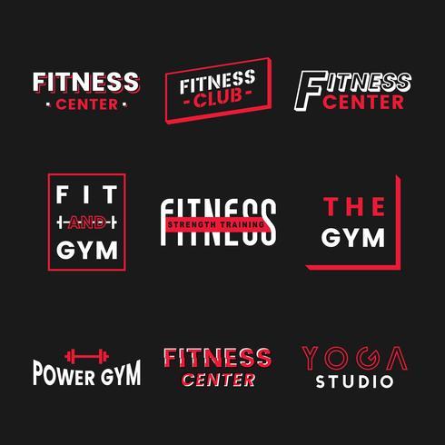 Conjunto de vectores logo del club de fitness