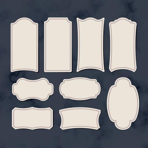 Conjunto de vetores de etiquetas autocolante vintage em branco
