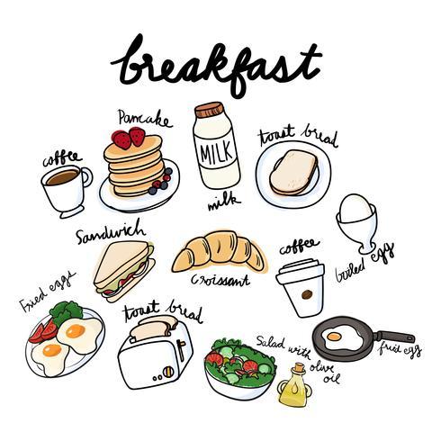Vector de colección desayuno
