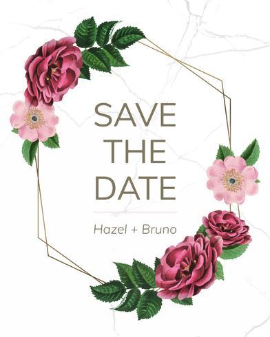 Speichern Sie das Datum mit dem Blumenrahmenvektor