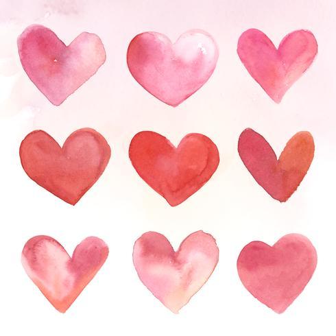Conjunto de ilustración acuarela de iconos de corazón