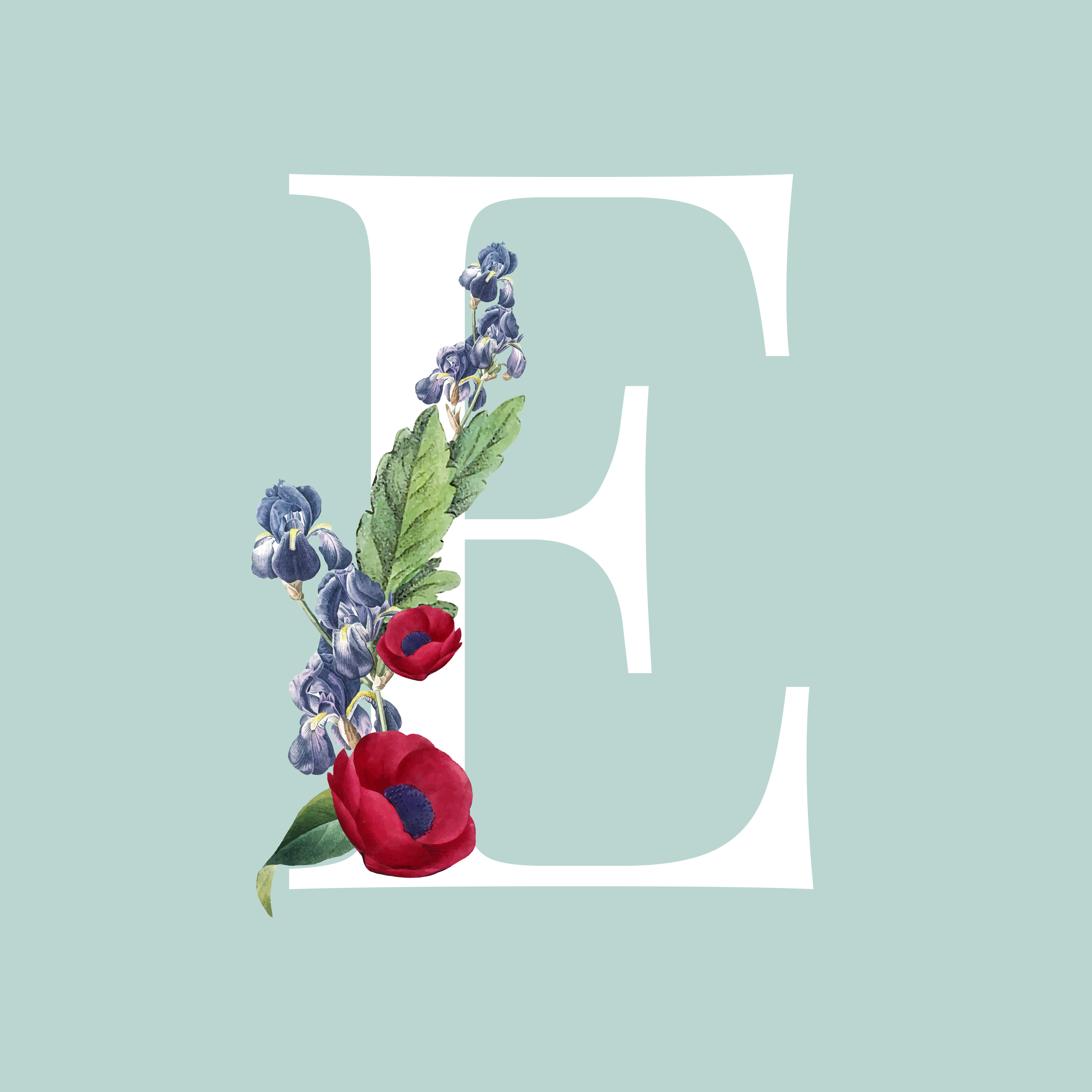 Floral Styled Letter E Typography