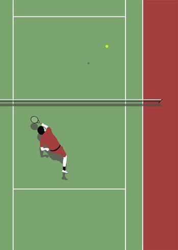 Vista aérea, de, um, quadra tênis