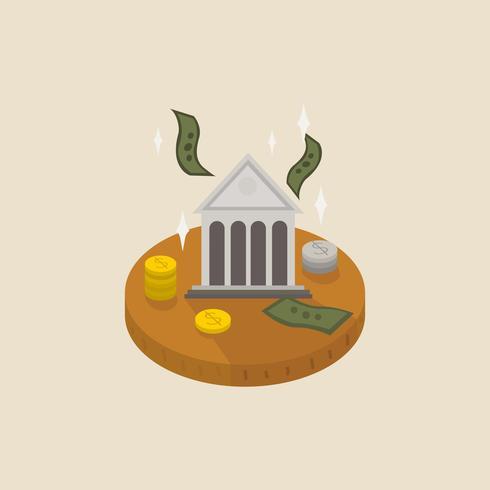 Illustration av pengar och en bank