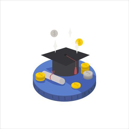 Illustration av en examen hatt, diplom och kontant ikon