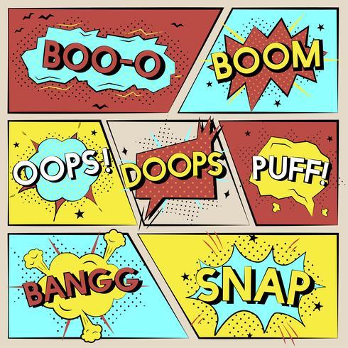 Conjunto de ilustración de gráficos de palabra cómica