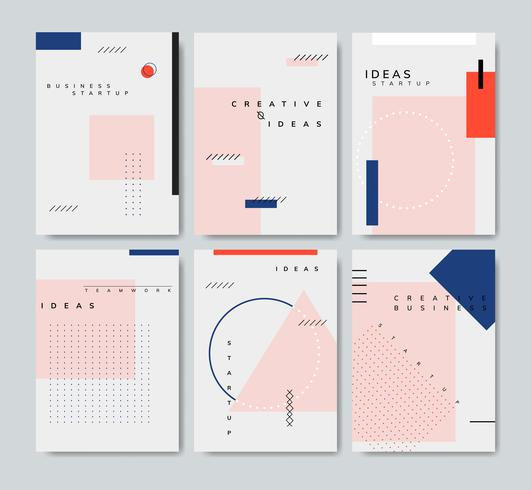 Insieme del vettore di poster start-up minimal Memphis design