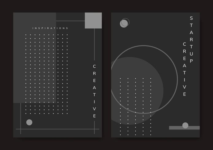 Conjunto de vector de cartel de inicio de diseño mínimo de Memphis