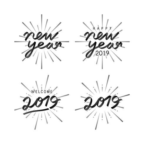 Set av 2019 nya år fest emblem vektorer