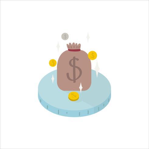 Ilustración de una bolsa de icono de efectivo