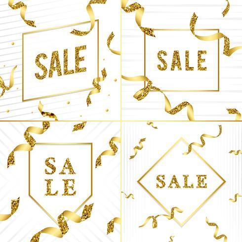 Emblema de venta con el vector de cintas
