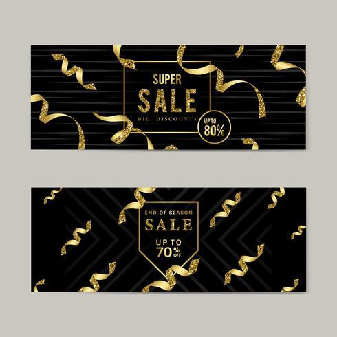Golden sale sign vector set