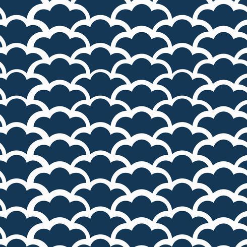 Seamless japanskt mönster med vågmotivvektor