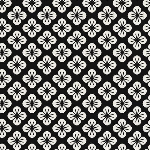 Patrón japonés transparente con vector de motivos florales