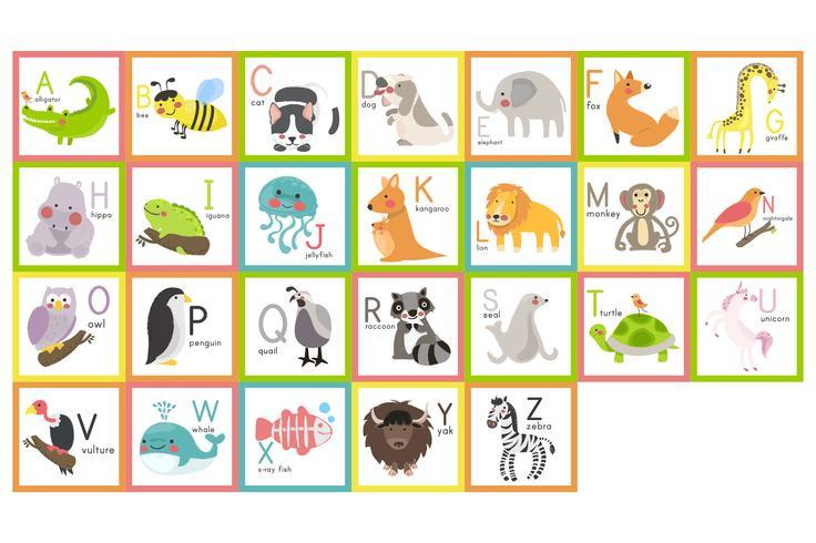 Wilde dieren alfabet set